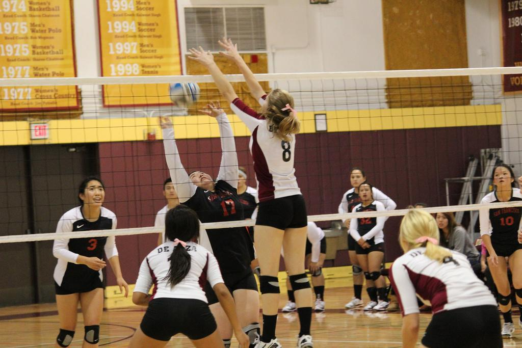 BLOCK - Semsa Selimovic (8) blocks against City College of San Francisco during their match Oct. 21.