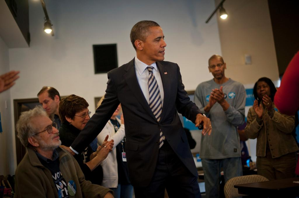 OBAMA ON ELECTION DAY - Barack Obama and his supporters celebrate in campaign headquarters
