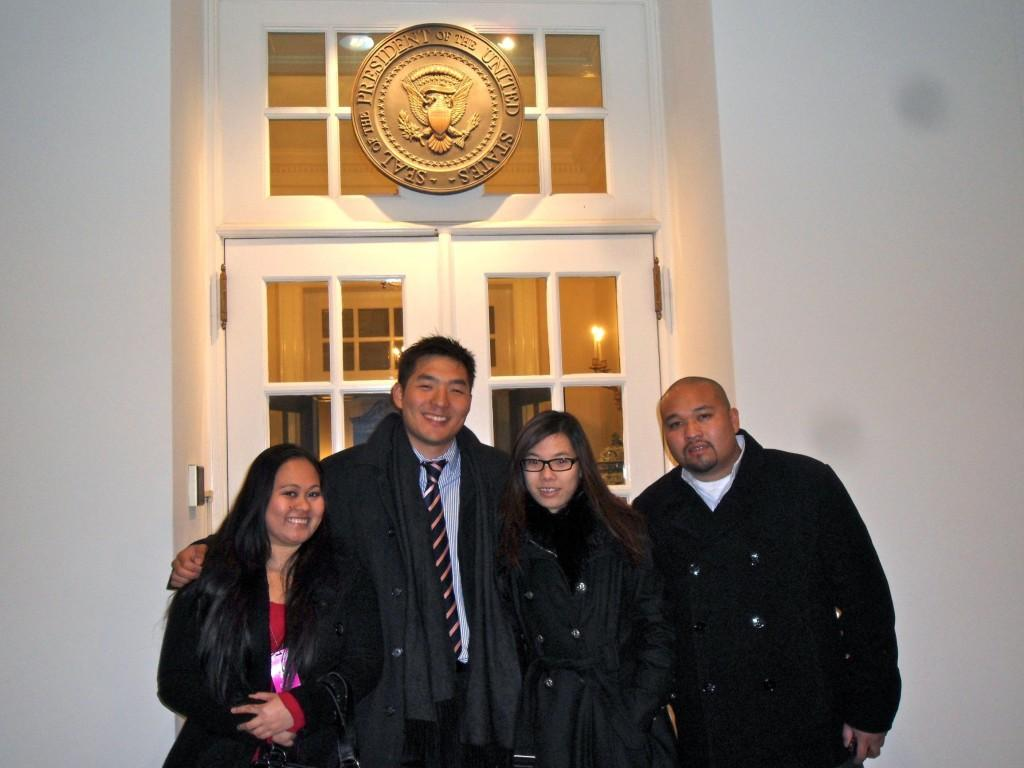 OUTSIDE THE WHITE HOUSE - Josephine Villanueva, Eddie Lee, Audrey Leong, and Matt Lai stand outside the West Wing near the Oval Office