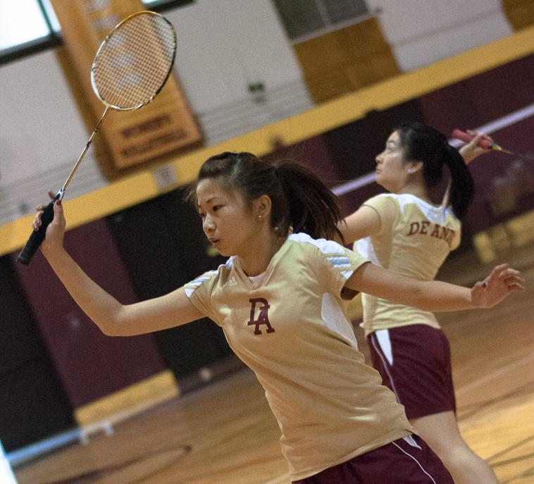Perfect Duo Freshmen Nancy Huynh (Left) attempts to psych out her opponents while her partner, freshman Phoebe Wong goes back to clear the other side.