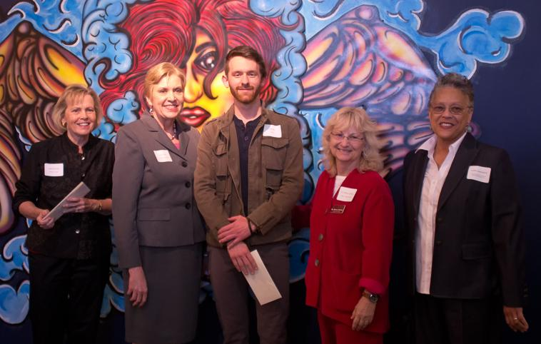 Art Celebration (From Left) Foothill-De Anza trustee Joan Barram, Chancellor Linda Thor, De Anza art student Steven Sobzek, Dean of Creative Arts Nancy Canter and Vice President of finance and educational resources Letha Jeannepierre line up at the De Anza student art show ceremony, Wednesday May 22.
