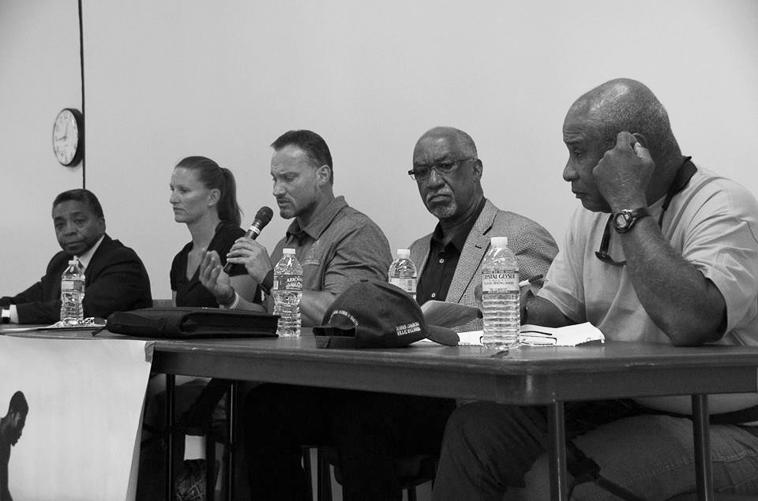 FORMER ATHLETES Robert Griffin, Dawnis Guevara, Jason Damjanovic, Ben Tucker and Robert Poynter participate in a panel discussion, sharing their athletic experiences and giving advice to students after the conference held on June 5.