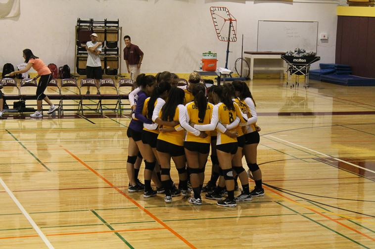 De+Anza+Dons+team+huddle+before+the+match+against+Santa+Rosa+Junior+College+on+Wednesday+Sept.+11.