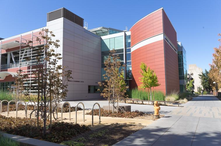 The Media & Learning center draws students with its environmentally friendly student lounges and quiet outdoor garden areas.