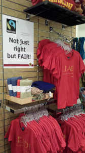 The De Anza Bookstore added a fair trade section and plan to expand throughout the store.  Bookstore Director Kelly Swanson is working together with LEAD to eliminate any connections with sweat shops.