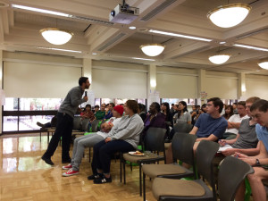 "Chris Lepe, a community planner for non-profit organization TransForm, reaches out to De Anza College students during the ""Talking Green"" event on Oct. 17."