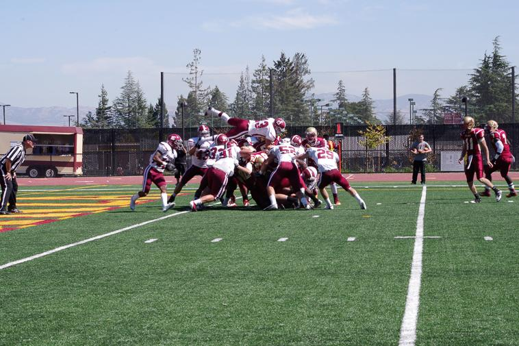 Sierra College attempts to defend their endzone from De Anza at the game Saturday, Sept 28.