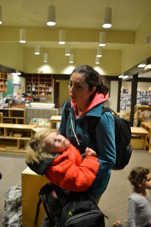Rebecca Cohen, 32, biology major, picks up her son Joseph, 4, from the De Anza College Child Development Center.