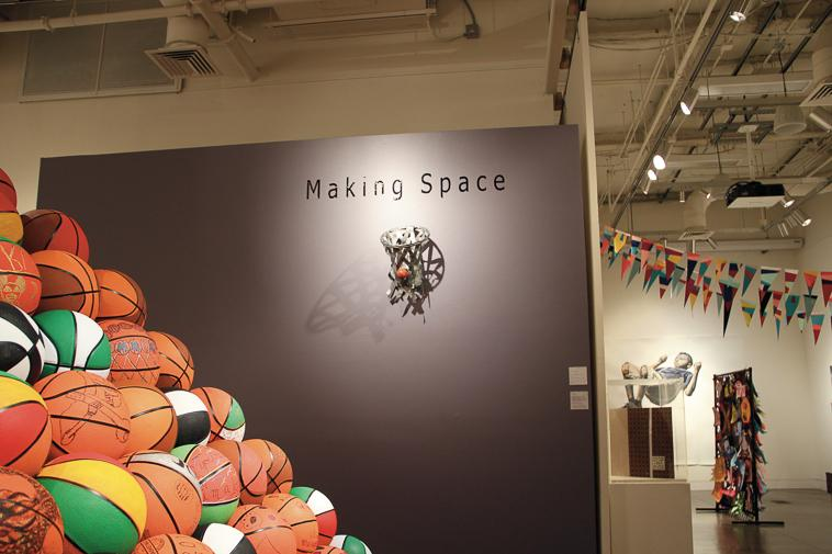 Laurin Chichkanoff's Duct Tape Basketball Hoop on display at the Making Space exhibit in the Euphrat Museum at De Anza College during the reception on Nov.13.