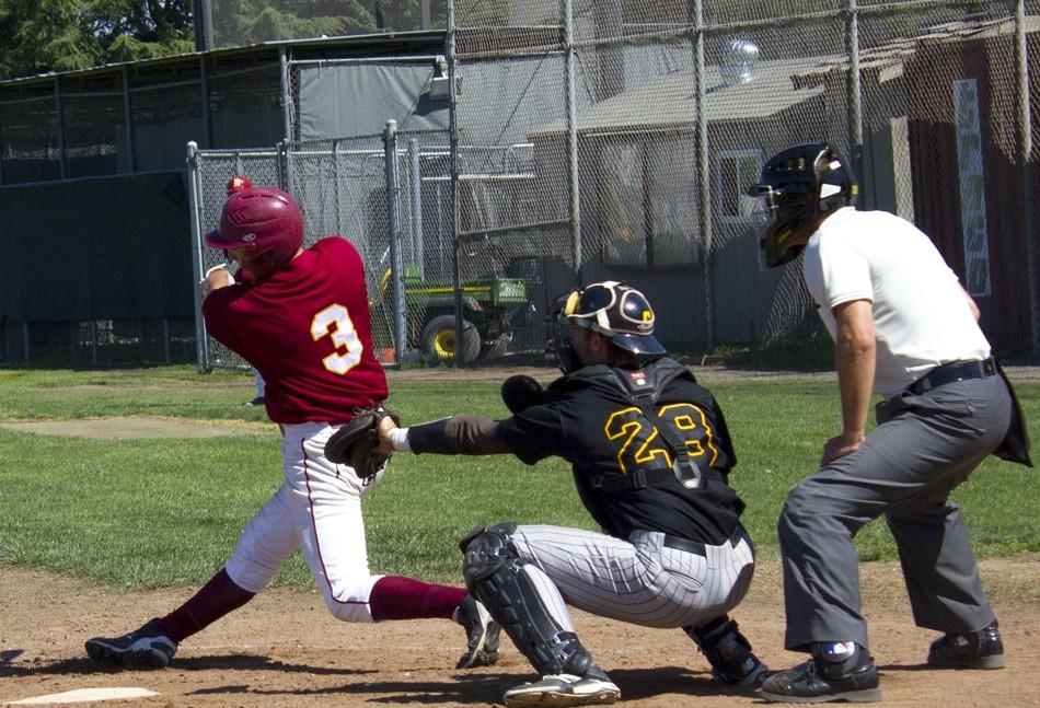 Freshman first baseman Stanley Sumibcay (3) hits in the first run for the Dons.