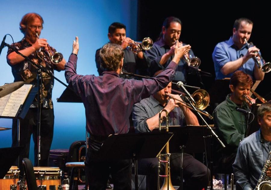 De Anza Jazz Ensemble director John Russell leads the band during their performance at the 33rd Herb Patnoe Jazz Festival, Friday May 30.