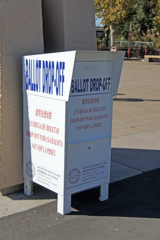 Mail-in ballot dropbox located in the main quad of the De Anza campus.