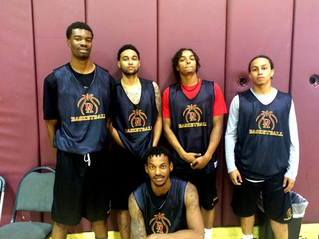 (from left) Sophomore forward Kenny Robinson, sophomore guard Kyle Connor, sophomore guard Jordan Belton, sohomore guard Nate Vieira and in the front sophomore guard DJ Rodriguez