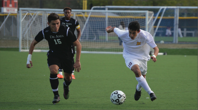 Dons' freshman midfielder Daniel Galvan (15) tries to get to the ball before a Hartnell Player. De Anza wons its final home game of the regular season 1-0 on Friday Nov. 14, capturing the central coast conference championship and advancing to the second round of the NorCal regional championship.