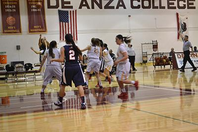 The De Anza College women's basketball team defends a Gavilian offensive possesion on Jan. 14. The Dons won the game 77-28.