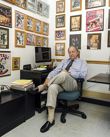 Gary Zarecky reclines in his office.