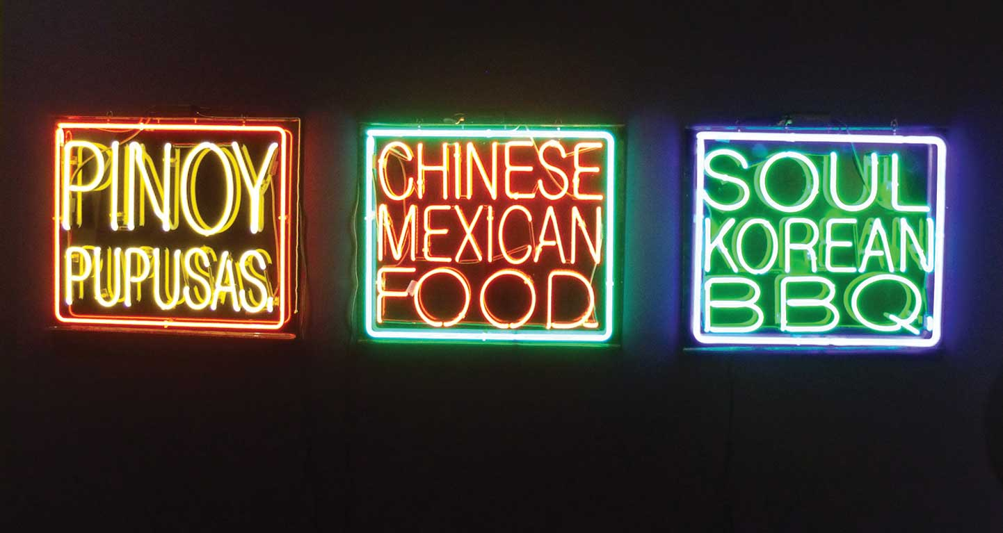"""Neon signs made by Patrick Martinez for the """"Mooncakes, Churros, and Cherry Pie"""" exhibit which opened at the Euphrat Museum of Art on Feb. 2 and runs through March 19."""