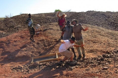 Professor Isaiah Nengo and his team enjoy their final day excavating fossils on the Red Hill in Kenya