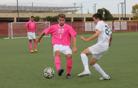 De Anza Defender Josh Edwards (22) keeps possession against an Ohlone player in the Dons win on Friday Oct. 23, their 10th win of the season.