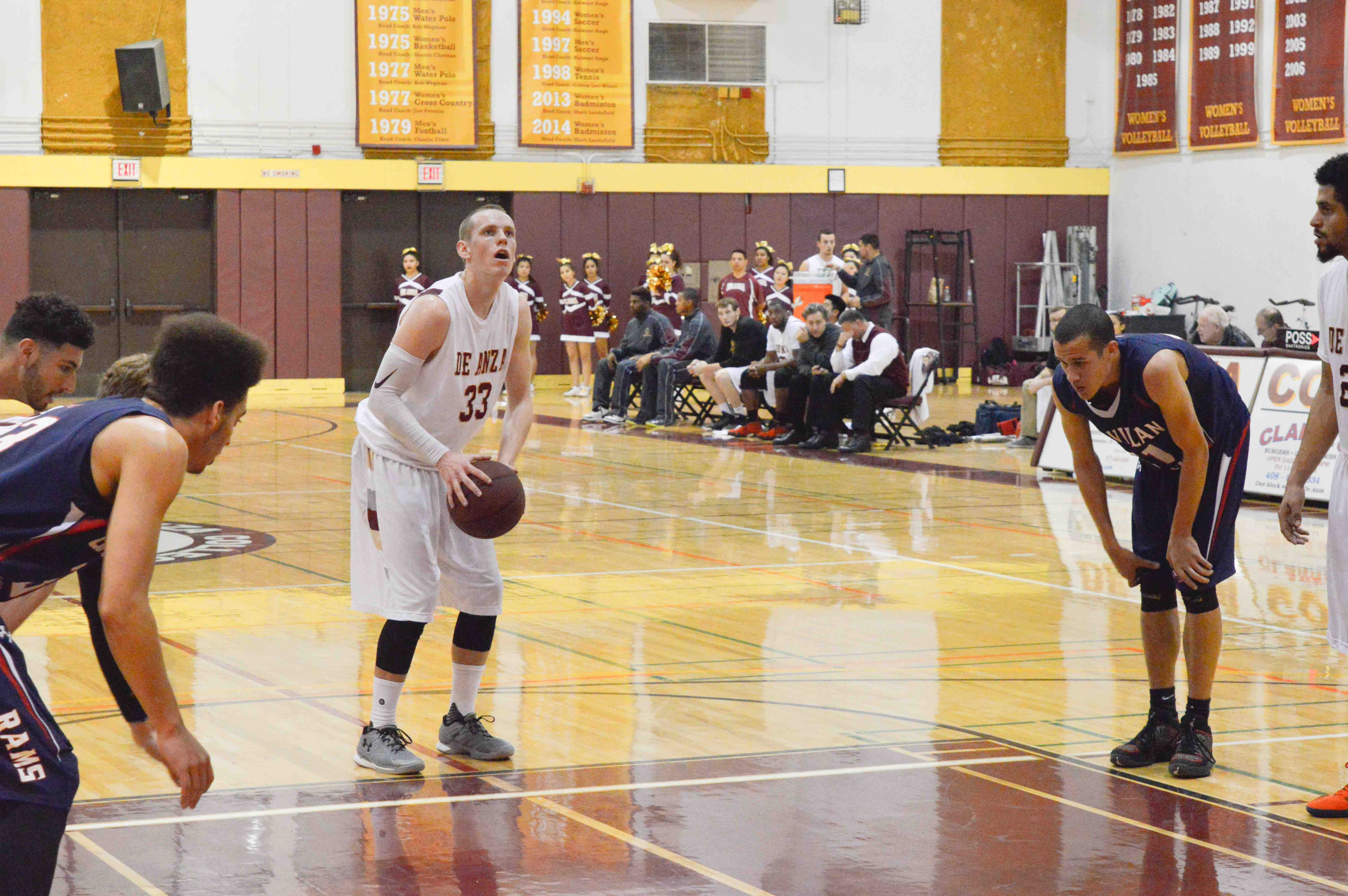Cooper Wilson (33), wing, sets for a free throw in a game against Gavilan College that came down to the wire on Friday, Jan. 15.