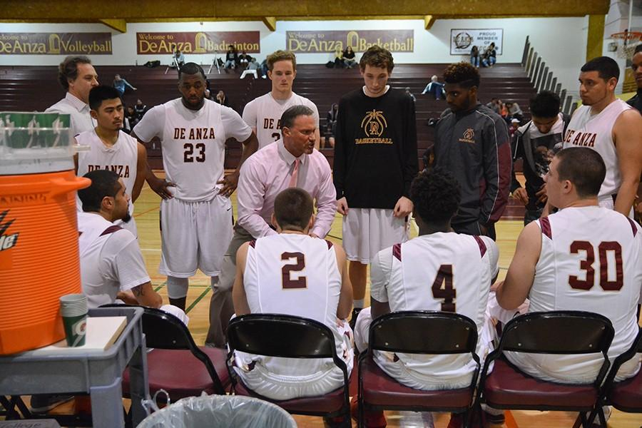 Head coach Jason Damjanovic coaches his players  during a timeout in their 90-67 loss to Cabrillo College on Wednesday, Jan. 27.
