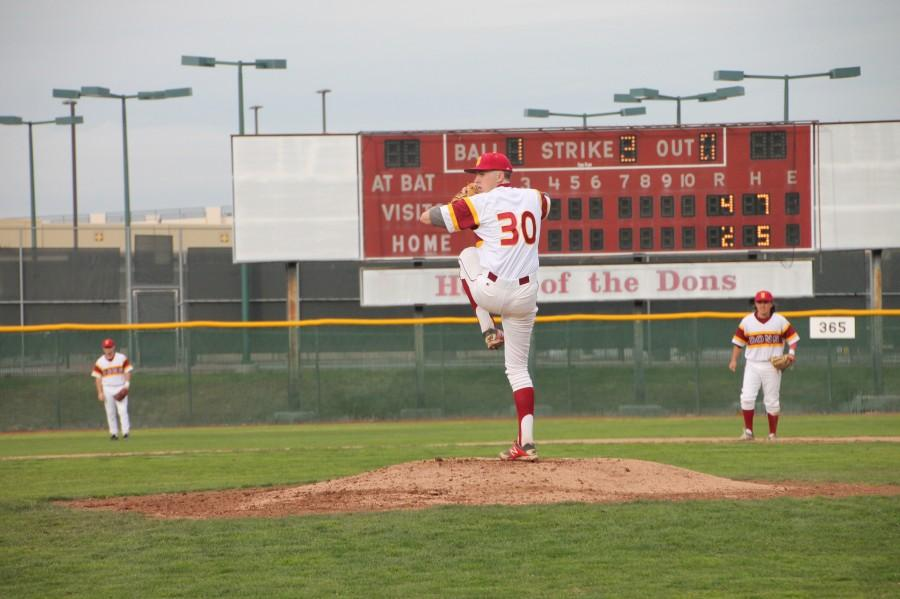 Freshman RHP Kevin Hahn (30) winds up on the mound in the Dons 7-6 win over the Yuba College 49ers. Hahn pitched three-and-one-third innings of two-hit ball for De Anza.
