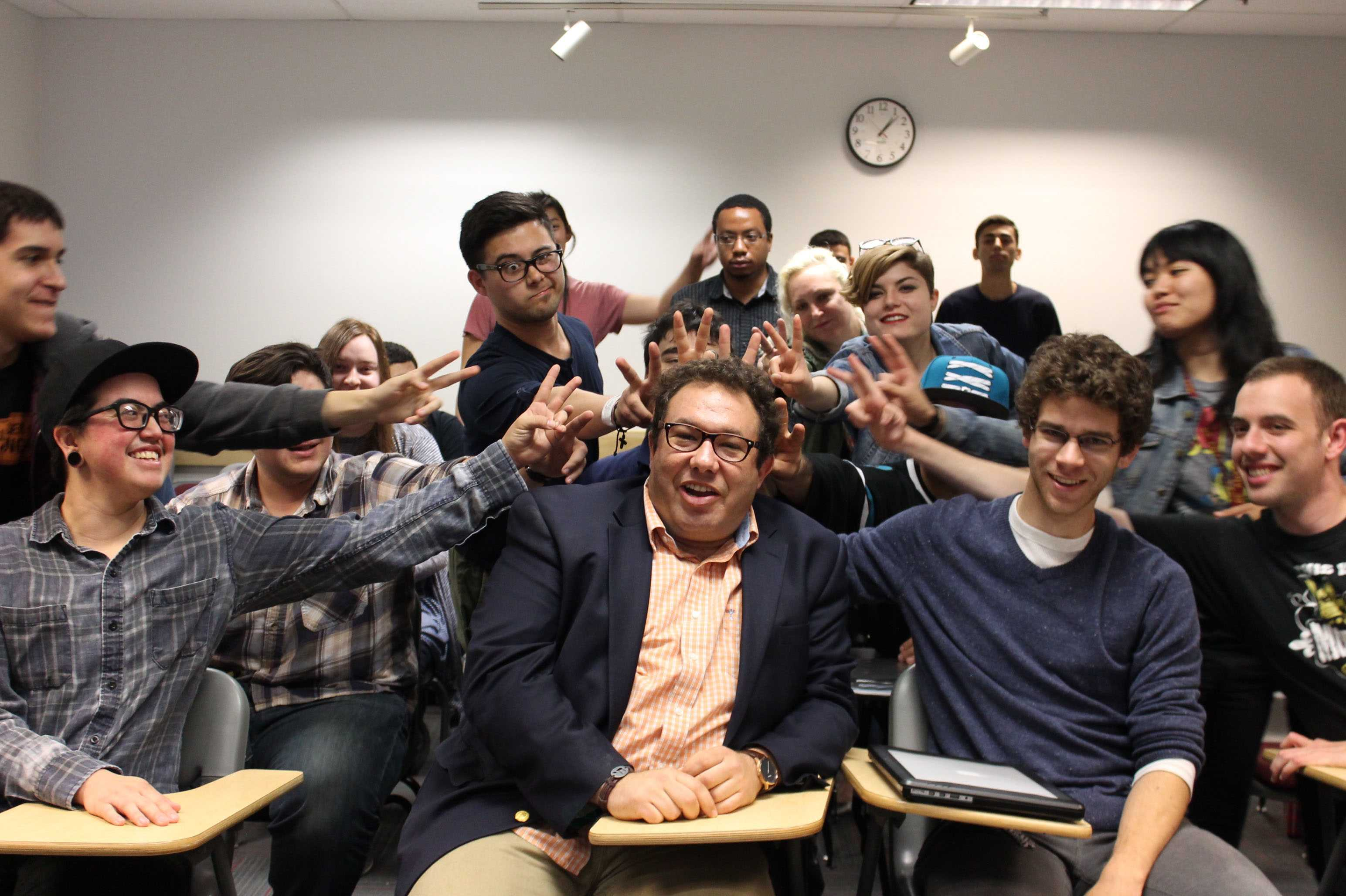 Barak Goldman poses with his students from advanced screenwriting workshop class.