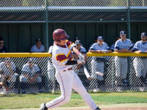De Anza infielder Alex Roque (22) hits a pitch in the Dons' 9-1 loss to the West Valley College Vikings Thursday, April 28.