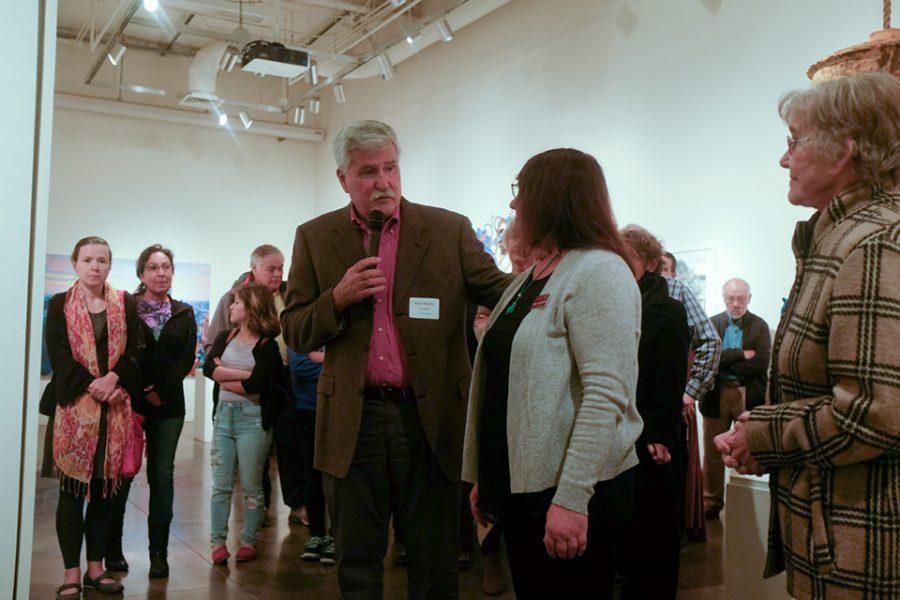 De Anza College President Brian Murphy speaks to a crowd.