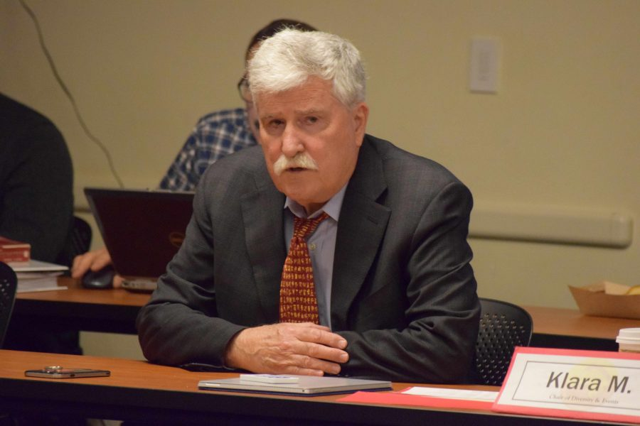 President Brian Murphy explains to the DASB Senate the complications with cutting the Office of College Life and Student Accounts during the Feb. 8 senate meeting.