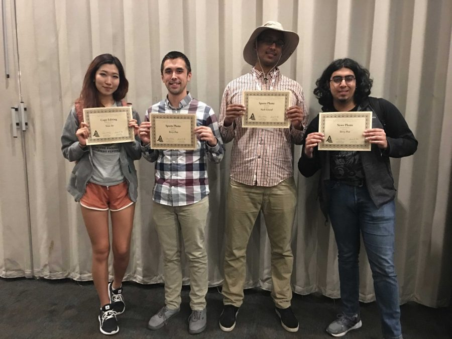 La Voz staff holds up awards won at the Journalism Association of Community Colleges state convention in Sacramento, April 1.