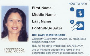 Sample Clipper Card, image courtesy of De Anza College.