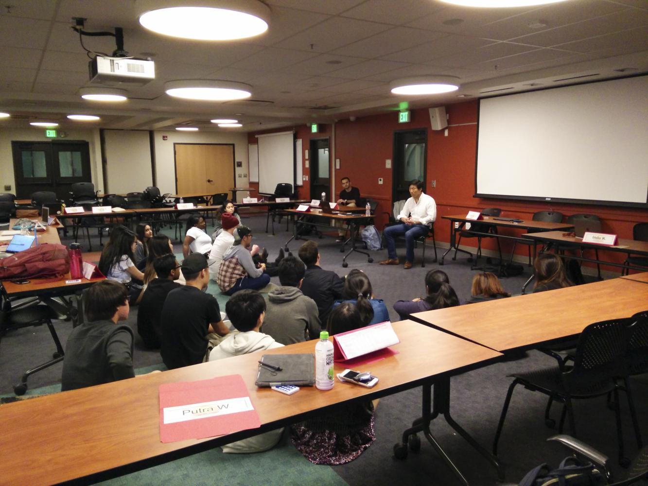 DASB President Dylan Kim tells a story to senators as a pre-meeting workshop.