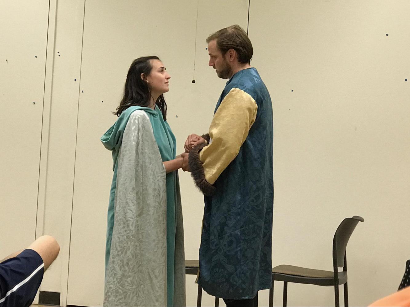 "Professional actors Mark Vashro and LeighAnn Cannon perform a scene from ""What You Will"" in De Anza College on June 6."