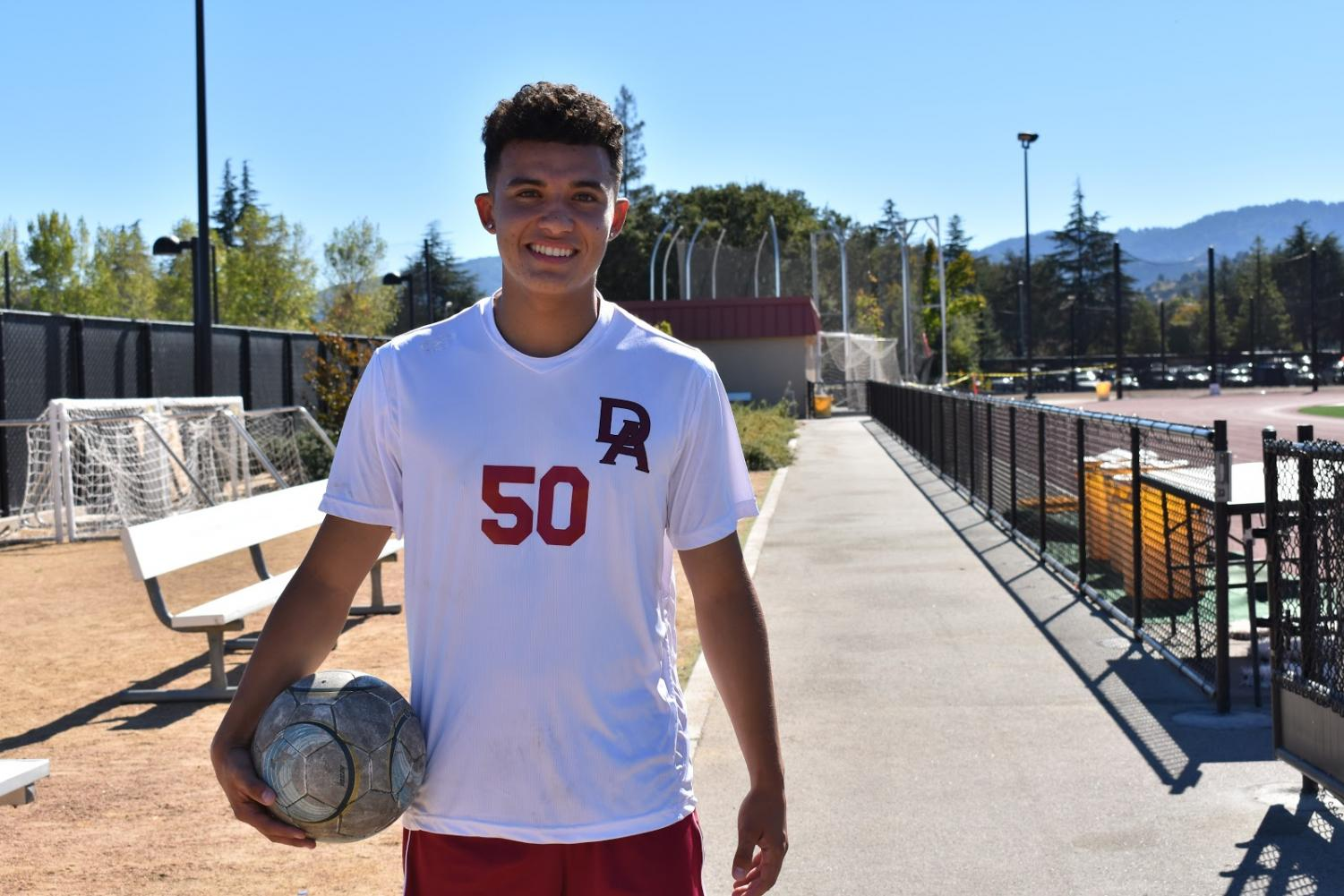 Christian Mendoza, a right back for De Anza's men's soccer team, practices for the Dons' upcoming game on Nov. 7 at 2 p.m. He says eating fruit helps him feel light on game day.