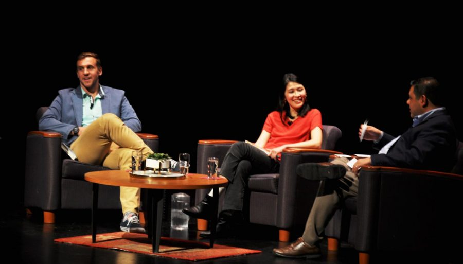 Khong, Lukach, and Pizzaro-  The Silicon Valley Reads selected 2018 authors, Rachel Khong and Mark Lukach, answer audience written questions read by Mercury News columnist Sal Pizzaro during the Feb. 1 Kick-Off event at De Anza's Visual & Performing Arts Center.