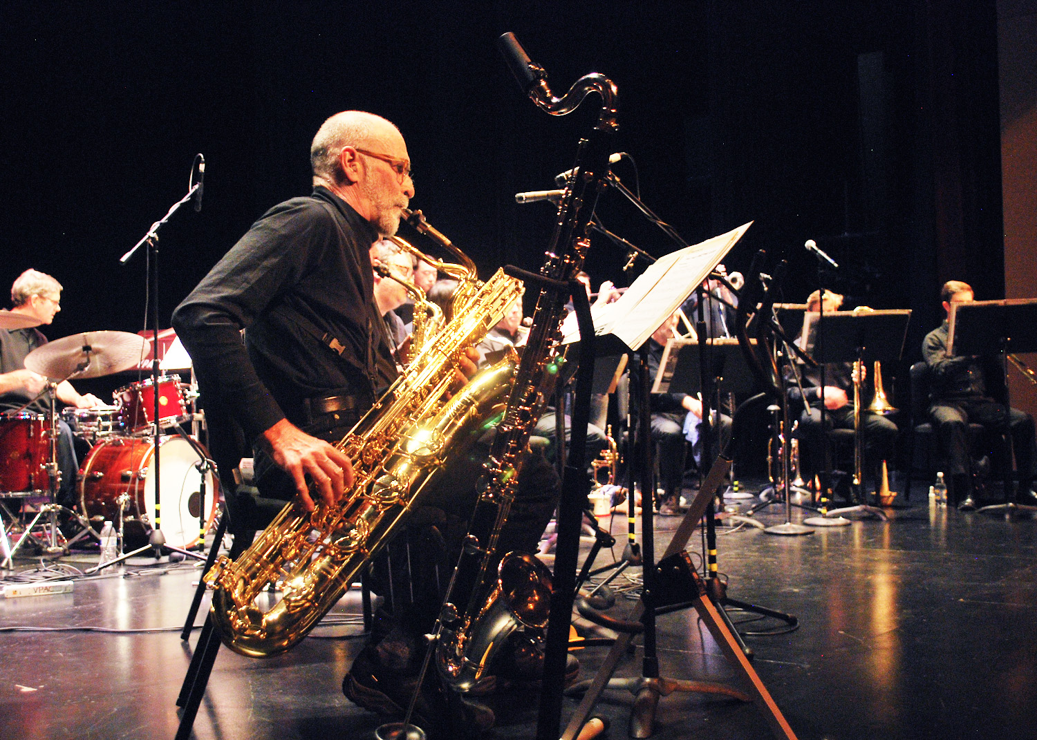 Barry saxophone player and Daddios Big Band member plays some jazzy tunes at the De Anza Jazz Ensemble Concert on March 23.