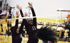 Kayla Thor and Nia Burns missing a attack from Foothill.