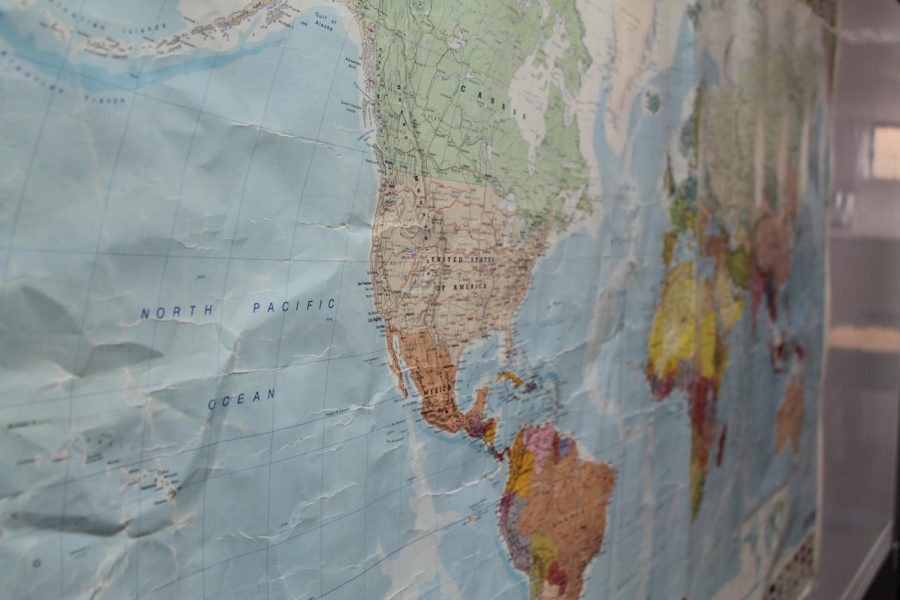 A world map is posted in front of the Cross Cultural Program office at De Anza College on Nov. 1.