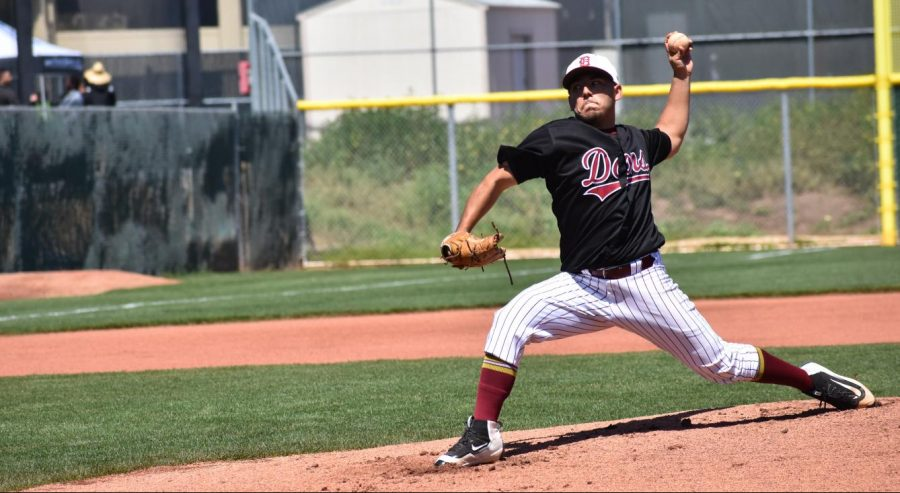 Daniel Ramos winds up to pitch at home against West Valley College on April 14. The dons lost 2-1