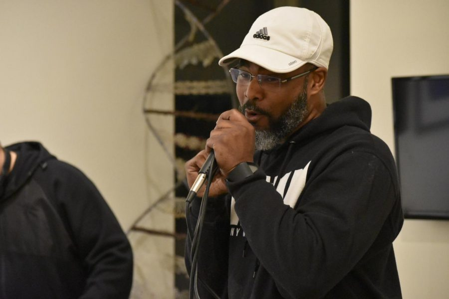 Master of ceremonies and host, McTate Stroman, delivers high energy and off the top freestyle's during the Feb. 7 First Thursday Open Mic night in the Euphrat Museum.