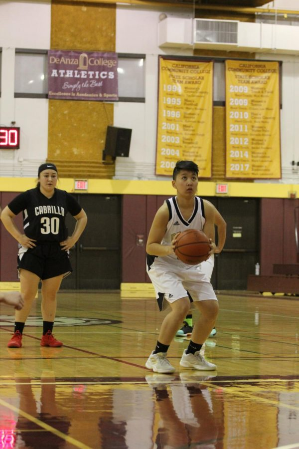 Faith Ann Serrano, guard, lines up a free throw during a home game against Cabrillo College on Jan. 23