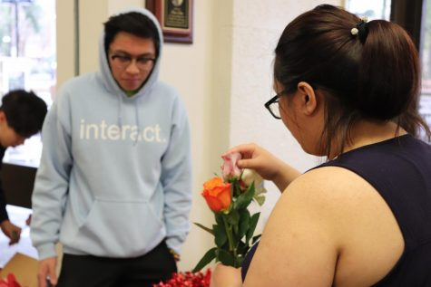 Laura Nguyen, 22, child development major, attempts to choose between 4 different roses at the DASB Valentine's event.