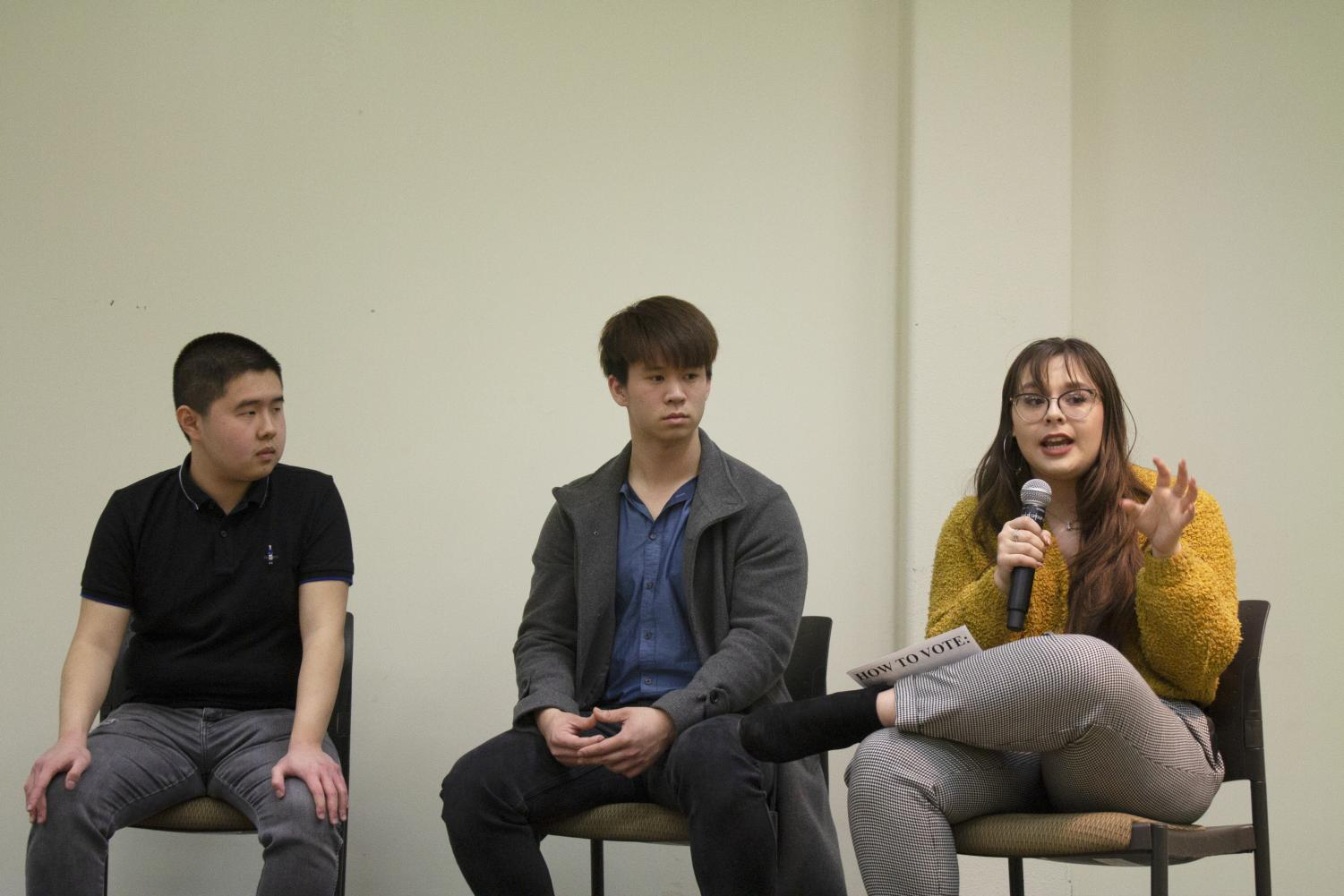 (From left to right) DASB president candidates, Dave Wardojo, Jeffery Chang and Shelly Michael answer questions during the