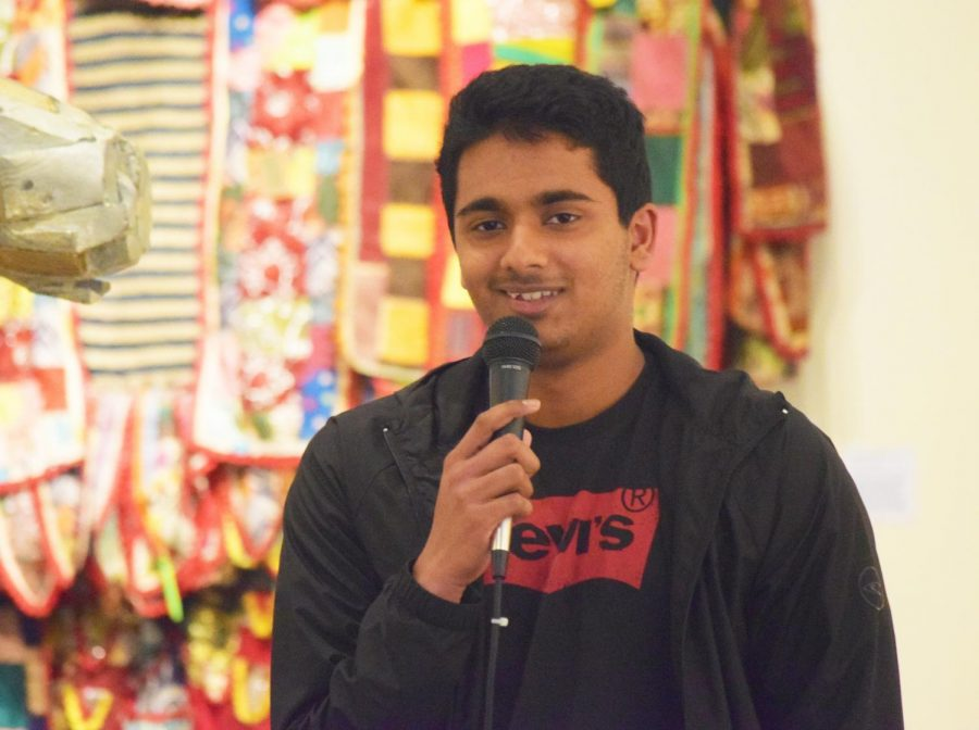 Numaan Shaikh, 18, political science major, performs standup comedy about his life experiences at First Thursday's Open Mic night, Mar. 7 at the Euphrat Museum.