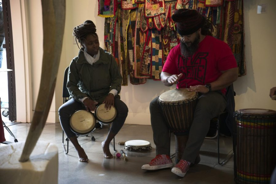 Fountainetta Coleman and Andre Meggerson play the drums at Sounds of Love and Liberation in the Euphrat Museum on Feb. 28.