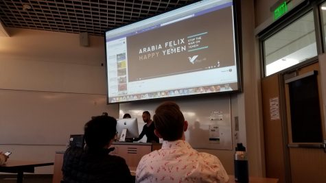 Students watch a presentation on the war in Yemen in MLC 112 on Thursday, March 14.