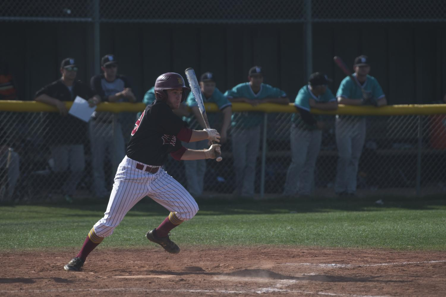 Centerfielder Anthony Sortino leaves the batters box after making contact in De Anza's 9-7 loss on April 18.