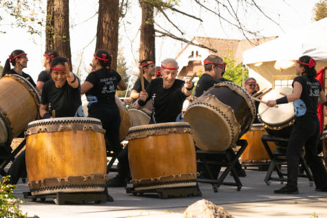Emeryville Taiko performs during the last few hours of the Cherry Blossom Festival on April 28.