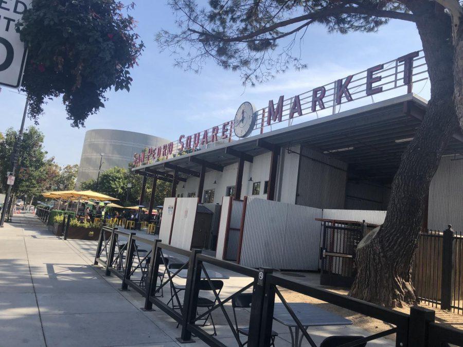 A side-view of San Pedro's Square Market, Downtown San Jose